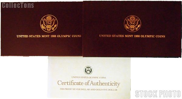 1988 Seoul Olympiad Commemorative Proof Silver Dollar and Gold Five Dollar Two Coin Set Set OGP Replacement Box and COA