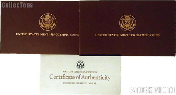 1988 Seoul Olympiad Commemorative Proof Gold Five Dollar OGP Replacement Box and COA