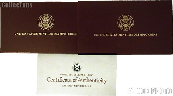 1988 Seoul Olympiad Commemorative Proof Silver Dollar OGP Replacement Box and COA