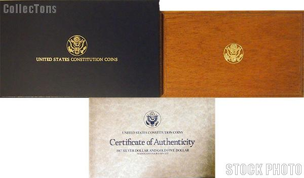1987 U.S. Constitution Bicentennial Commemorative Four Coin Set OGP Replacement Box and COA