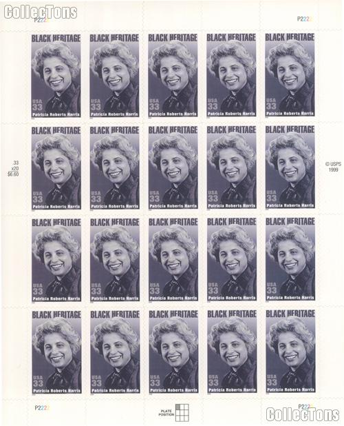 2000 Patricia Roberts Harris 33 Cent US Postage Stamp Unused Sheet of 20 Scott #3371