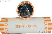 2014 P & D Utah Arches National Park Quarter Bank Wrapped Rolls 80 Coins GEM BU