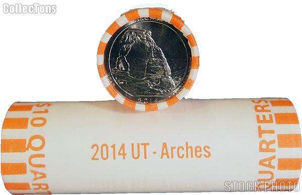 2014-D Utah Arches National Park Quarters Bank Wrapped Roll 40 Coins GEM BU