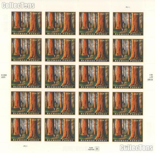 2009 Redwood Forest $4.95 US Postage Stamp Unused Sheet of 20 Scott #4378