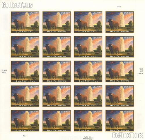 2009 Old Faithful $17.50 US Postage Stamp Unused Sheet of 20 Scott #4379
