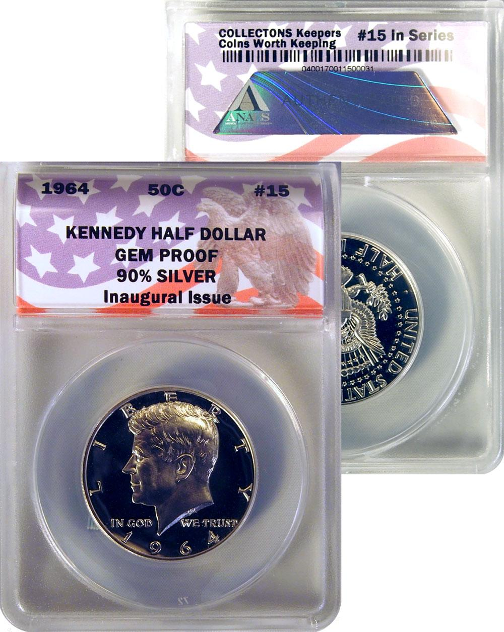 CollecTons Keepers #15: 1964 Kennedy Half Dollar 90% Silver Inaugural Issue Certified in Exclusive ANACS Gem Proof Holder