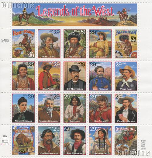 1994 Legends of the West 29 Cent US Postage Stamp Unused Sheet of 20 Scott #2869