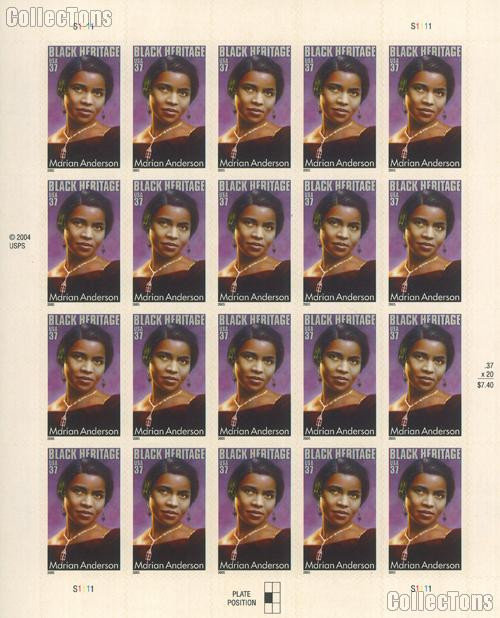 2005 Marian Anderson 37 Cent US Postage Stamp Unused Sheet of 20 Scott #3896