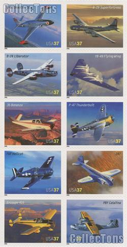 2005 Advances in Aviation 37 Cent US   Postage Stamp Unused Sheet of 20 Scott #3916 - #3925