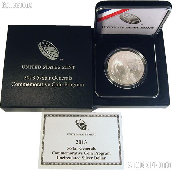 2013-W 5-Star Generals Uncirculated Silver Dollar in OGP