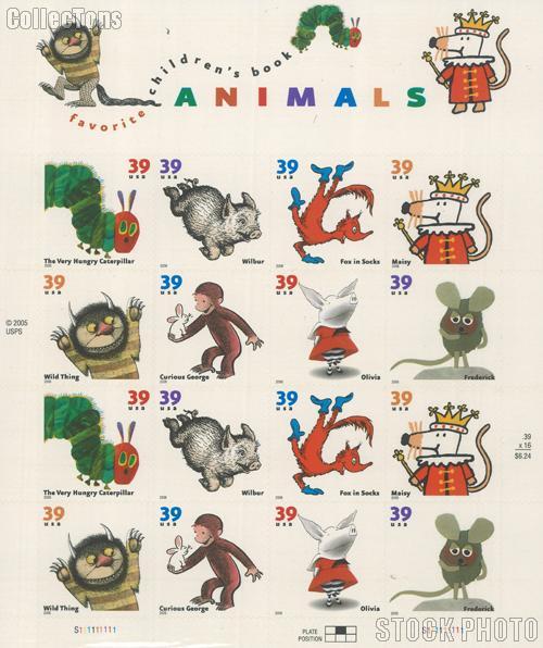 2006 Children's Book Animals 39 Cent US Postage Stamp Unused Sheet of 16 Scott #3987-3994