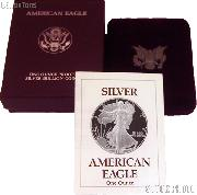 1989-S American Silver Eagle 1 oz Silver Proof Coin OGP Replacement Box and COA