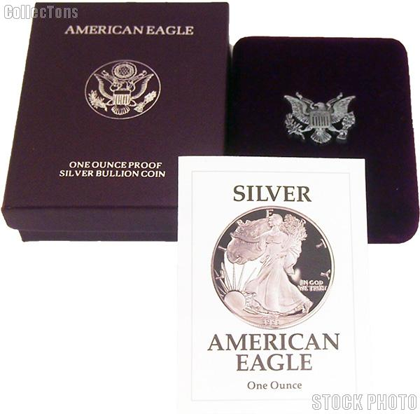 1991-S American Silver Eagle 1 oz Silver Proof Coin OGP Replacement Box and COA