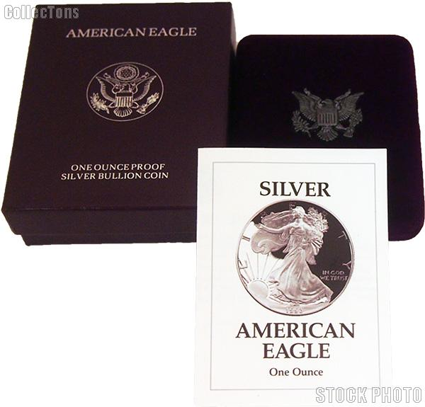 1993-P American Silver Eagle 1 oz Silver Proof Coin OGP Replacement Box and COA