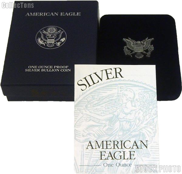 2001-W American Silver Eagle 1 oz Silver Proof Coin OGP Replacement Box and COA