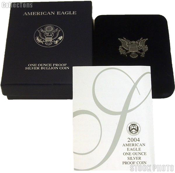 2004-W American Silver Eagle 1 oz Silver Proof Coin OGP Replacement Box and COA