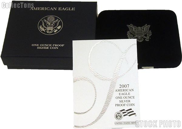 2007-W American Silver Eagle 1 oz Silver Proof Coin OGP Replacement Box and COA