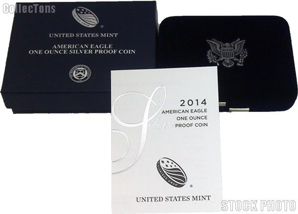 2014-W American Silver Eagle 1 oz Silver Proof Coin OGP Replacement Box and COA