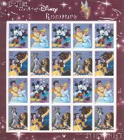 2006 The Art of Disney: Romance 39 Cent US Postage Stamp Unused Sheet of 20 Scott #4025-4028