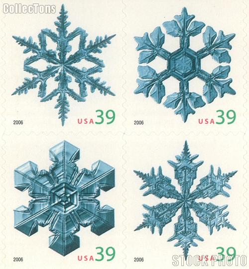 2006 Christmas - Snowflakes 39 Cent US Postage Stamp Unused Booklet of 20 Scott #4105B-#4108B
