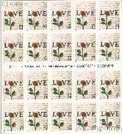 2001 Love 34 Cent US Postage Stamp Unused Booklet of 20 Scott #3497A