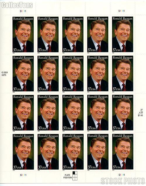 2005 Ronald Reagan 37 Cent US Postage Stamp Unused Sheet of 20 Scott #3897