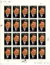 2005 Ronald Reagan 37 Cent US Postage Stamp Unused Sheet of 20 Scott #3897