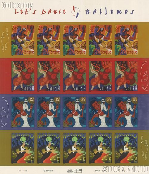 2005 Let's Dance 37 Cent US Postage Stamp Unused Sheet of 20 Scott #3939 - #3942