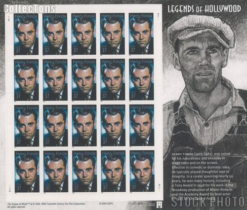 2005 Henry Fonda 37 Cent US Postage Stamp Unused Sheet of 20 Scott #3911