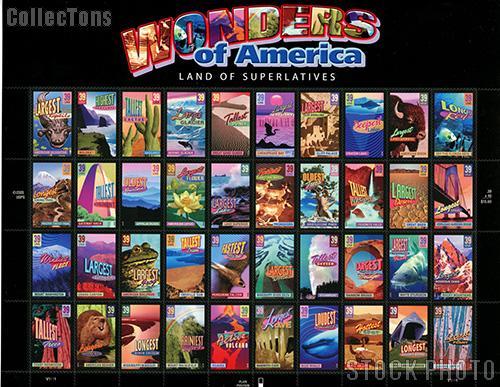 2006 Wonders of America 39 Cent US Postage Stamp Unused Sheet of 40 Scott #4033 - #4072