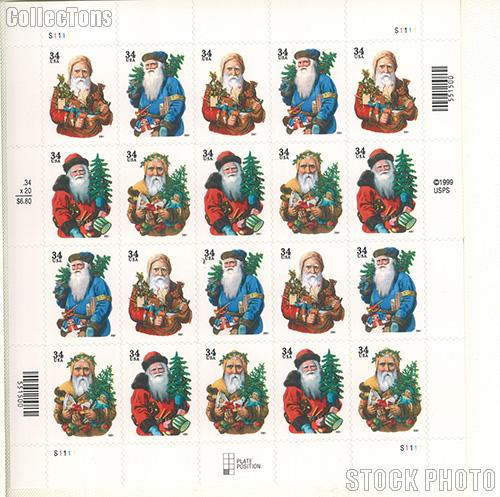 2001 Christmas - Santa Claus 34 Cent US Postage Stamp Unused Sheet of 20 Scott #3537-#3540