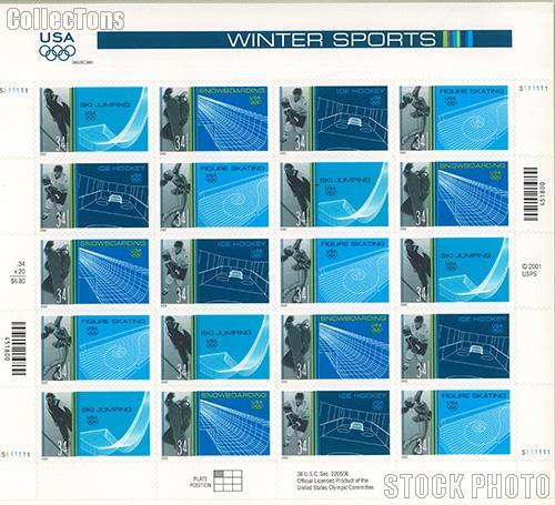 2002 Winter Olympics 34 Cent US Postage Stamp Unused Sheet of 20 Scott #3552 - #3555