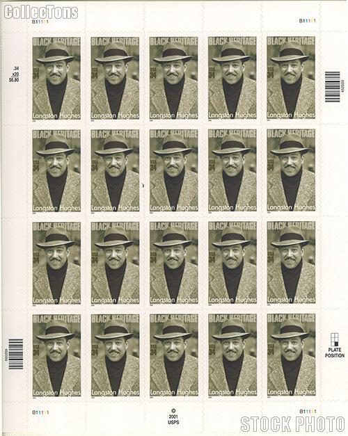 2002 Black Heritage Series - Langston Hughes 34 Cent US Postage Stamp Unused Sheet of 20 Scott #3557