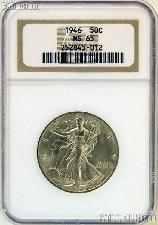 1946 Walking Liberty Silver Half Dollar in NGC MS 65