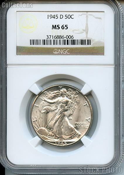 1945-D Walking Liberty Silver Half Dollar in NGC MS 65