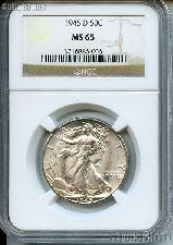 1945-D Walking Liberty Silver Half Dollar in NGC MS 65
