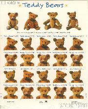 2002 Teddy Bears Centennial 37 Cent US Postage Stamp Unused Sheet of 20 Scott #3653 - #3656