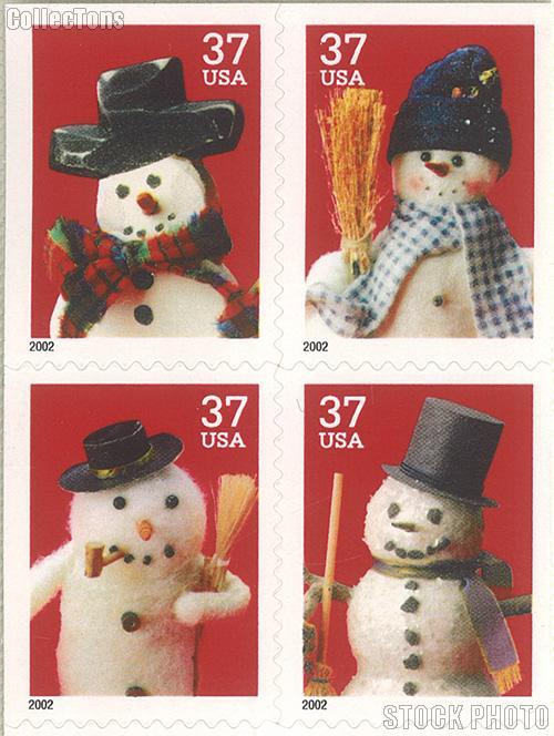 2002 Christmas - Snowman 37 Cent US Postage Stamp Unused Booklet of 20 Scott #3684B-#3687B