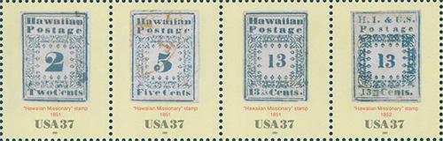 2002 Hawaiian Missionary Stamps 37 Cent US Postage Stamp Unused Sheet of 4 Scott #3694
