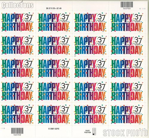 2002 Happy Birthday 37 Cent US Postage Stamp Unused Sheet of 20 Scott #3695