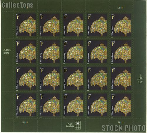 2003-2008 American Design Series - Tiffany Lamp 1 Cent US Postage Stamp Unused Sheet of 20 Scott #3749