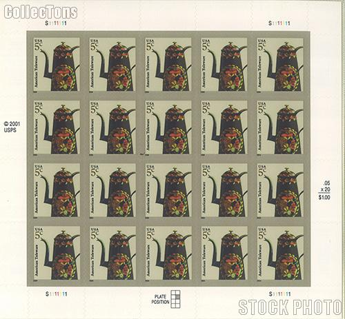2003-2008 American Design Series - American Toleware 5 Cent US Postage Stamp Unused Sheet of 20 Scott #3756
