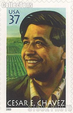 2003 Cesar E. Chavez (1927-1993), Labor Organizer 37 Cent US Postage Stamp Unused Sheet of 20 Scott #3781