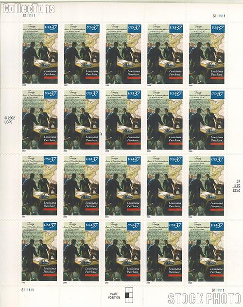 2003 Louisiana Purchase Bicentennial 37 Cent US Postage Stamp Unused Sheet of 20 Scott #3782