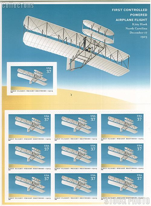 2003 First Flight of Wright Brothers Centennial 37 Cent US Postage Stamp Unused Sheet of 10 Scott #3783