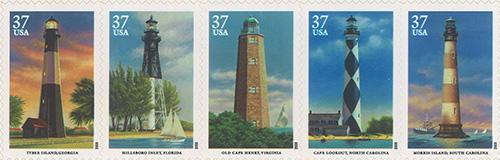 2003 Southeastern Lighthouses 37 Cent US Postage Stamp Unused Sheet of 20 Scott #3787 - #3791