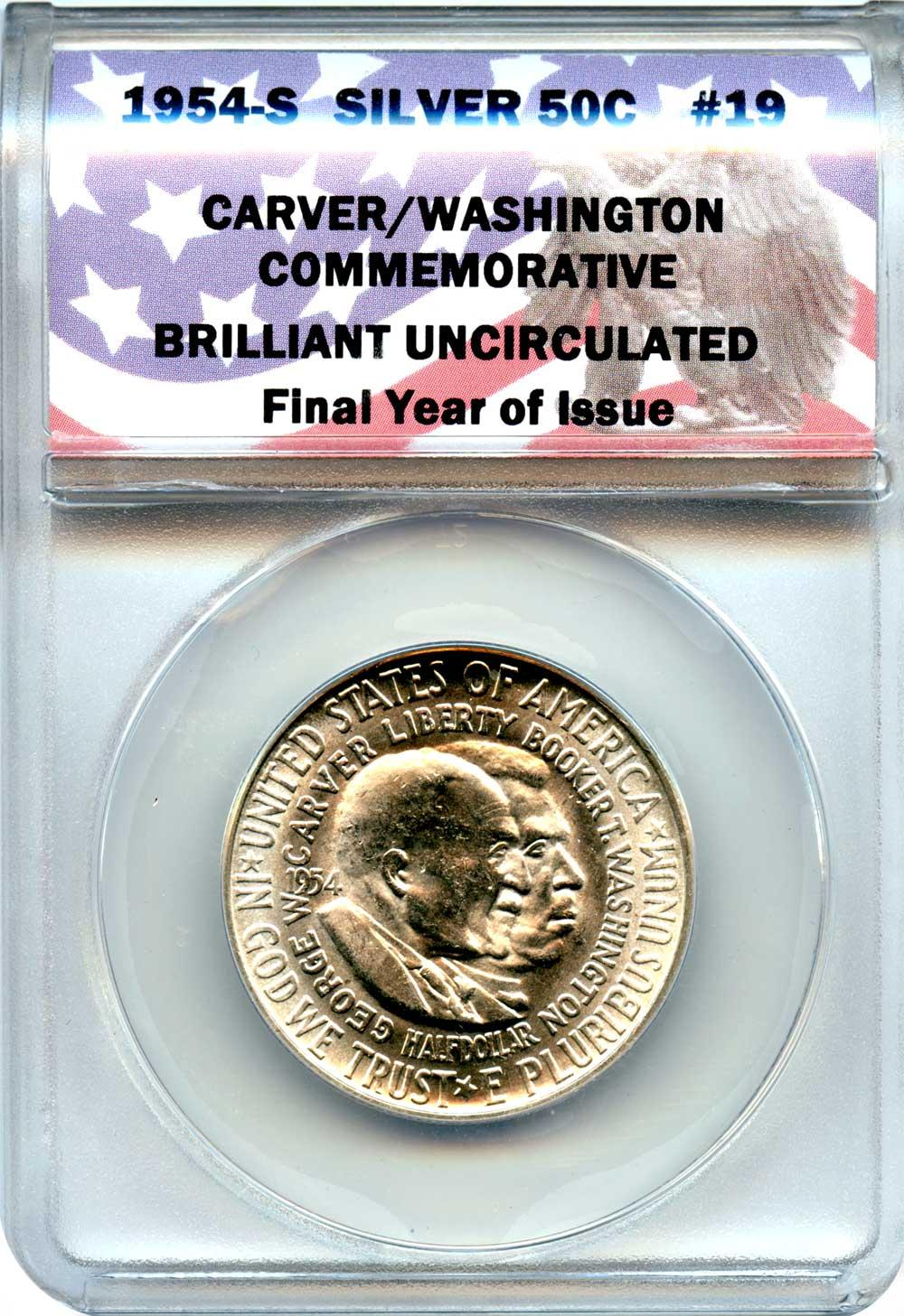 CollecTons Keepers #19: 1954-S Carver/Washington Commemorative Half Dollar Certified in Exclusive ANACS Brilliant Uncirculated Holder