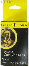 Guardhouse Box of 10 Coin Capsules for HALF DOLLARS (30.6mm)