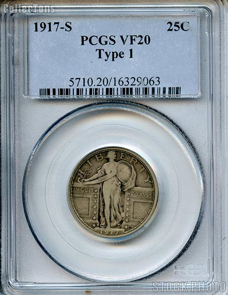 1917-S Standing Liberty Silver Quarter Type 1 in PCGS VF 20