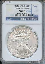 2013 American Silver Eagle Dollar EARLY RELEASES in NGC MS 69
